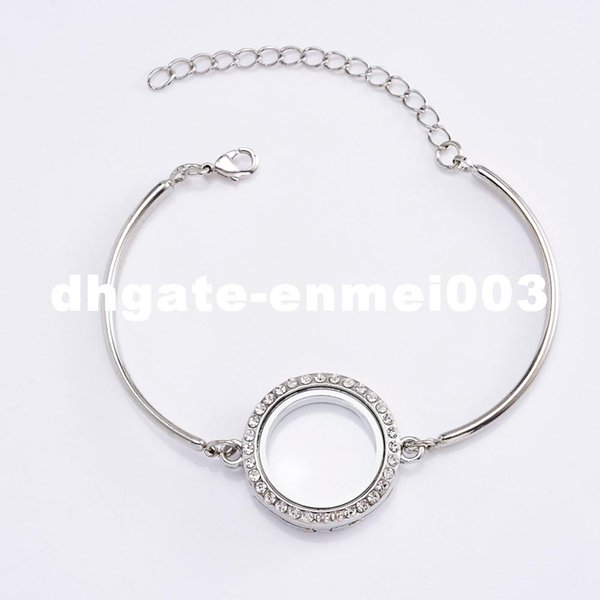5Pcs 25mm Photo Glass Crystal Memory Magnetic Stainless Steel Floating Charms Locket Bracelet Bangle With DIY Bracelet