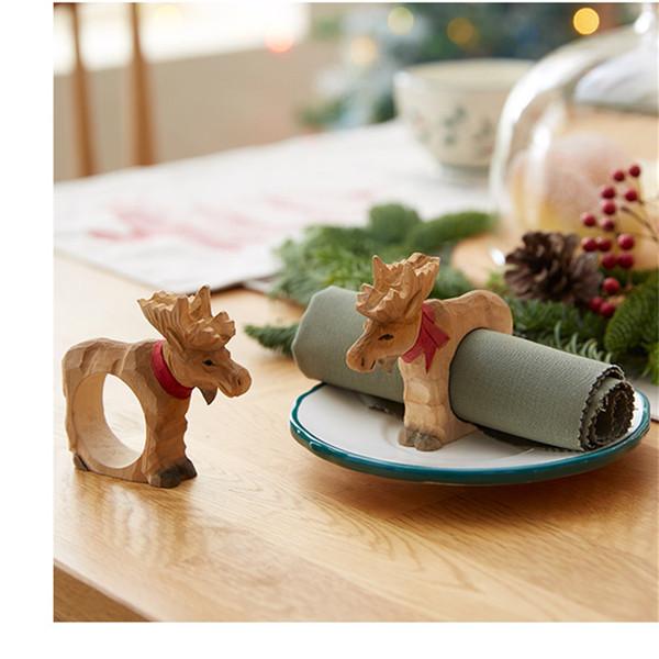 Wholesale- 4PCS/LOT Hand-carved Wood Carving Crafts Napkin Holder Ornaments Christmas Gift Santa Snowman Deer Napkin Rings Creative Gift