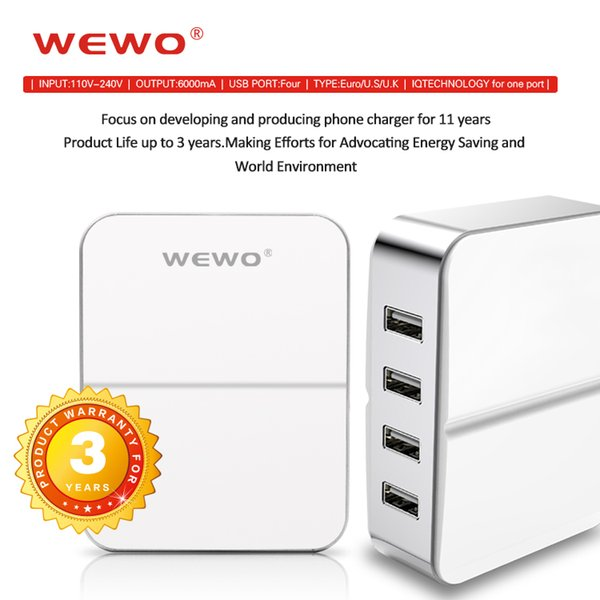 Multi USB ports Wall Charger Quick Charging for Travel 6A 4USB EU US UK plug Phone Charger for iPhone iPad Android Cell Phones