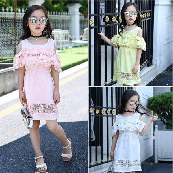 Girls Off Shoulder Dress 2017 Summer Style Lace Dress with Sleeves Teenage Girls Fashion Cotton Hollow Out Dress Girls Clothes