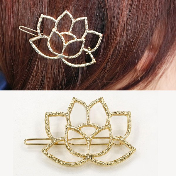 top popular New lotus flower hair accessories gold silver plated flower hair clips jewelry cute water lily bobby pins barrettes hairpin for ladies 2019