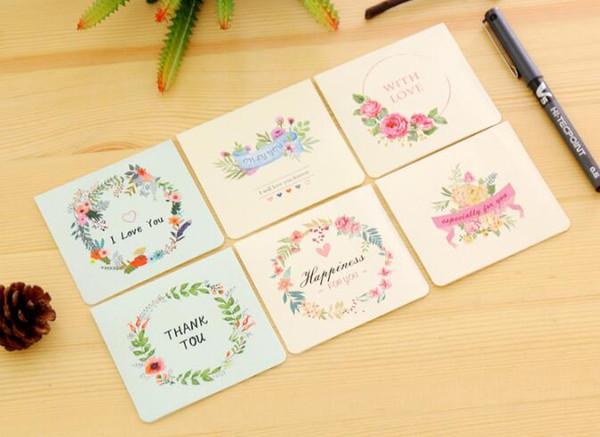 Compre 6 Tipos De Tarjetas De Navidad Plegables Florales Mini Felicitación De Cumpleaños Nota De Invitación De Las Bodas De Año Nuevo Para A 0 25