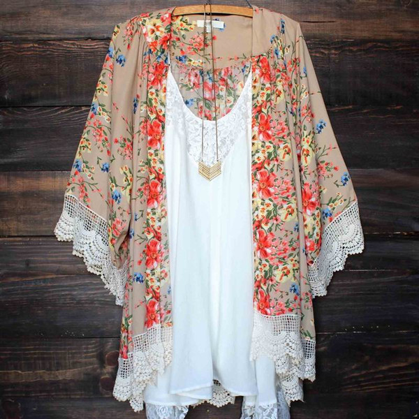 2017 Kimono Women Kimono Jacket Chiffon Cardigan Long Sleeve Top Blouse Beach Cover Up Blouse Tassel Flower Pattern Shawl Kimono Cardigan
