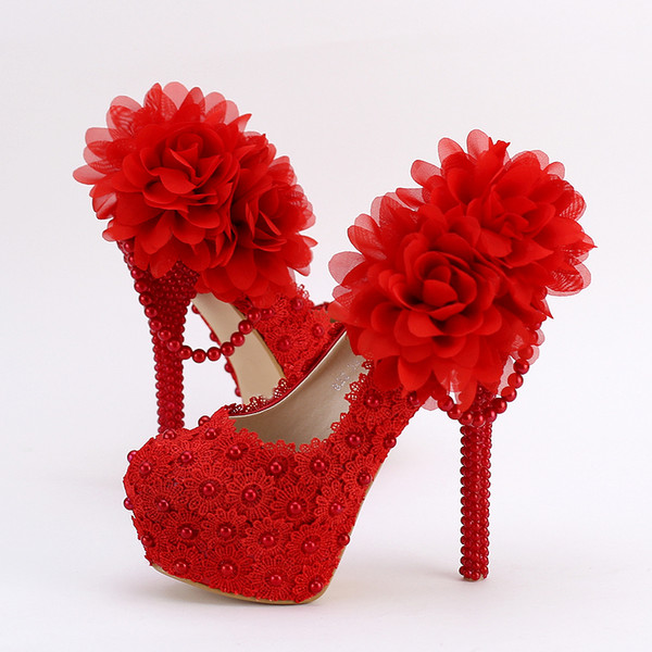 New super high heels red bud silk flowers fine pearl pendant to the women's singles shoes round head waterproof shoes