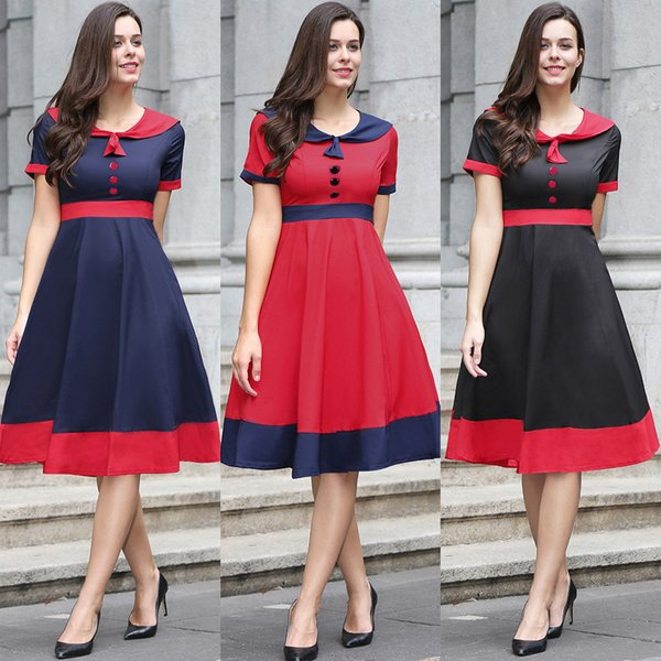 Casual Contrast Color Vintage A Line Dresses 2017 Classic Sailor Collar Button Decoration Elegant Patchwork Dresses