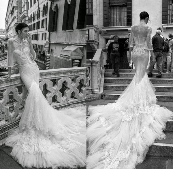 Fabulous Mermaid Wedding Dresses With Jacket Sweeteart Neckline Lace Beaded Wedding Gowns Sweep Length Backless Bridal Dress