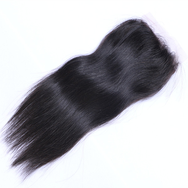 Full Head 1PC Straight Hair Extensions Natural Color Brazilian Indian Peruvian Malaysian Human Virgin Remy Hair 4*4 Closure Top Closures