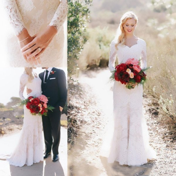 Vintage White Lace Long Sleeve Sheath Wedding Dresses 2017 Cheap ...