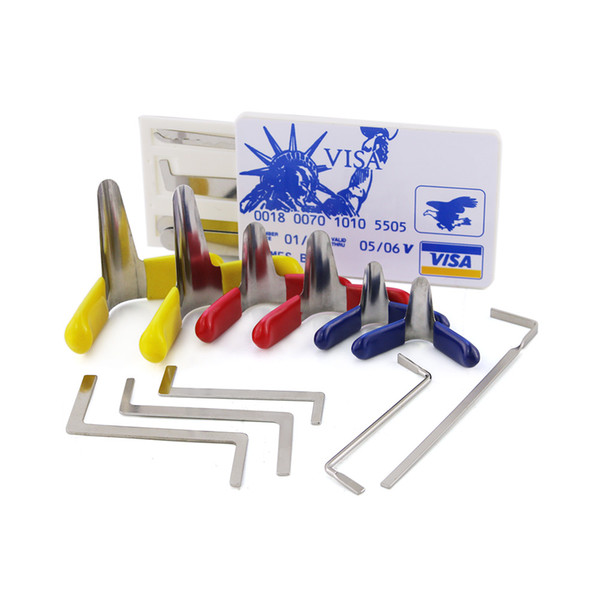 New Value Set 6pcs Unlocking Pick Tool Padlock Shim + 5pcs Locksmith Tension Wrenches + 5pcs Credit Card Lock Picks Set