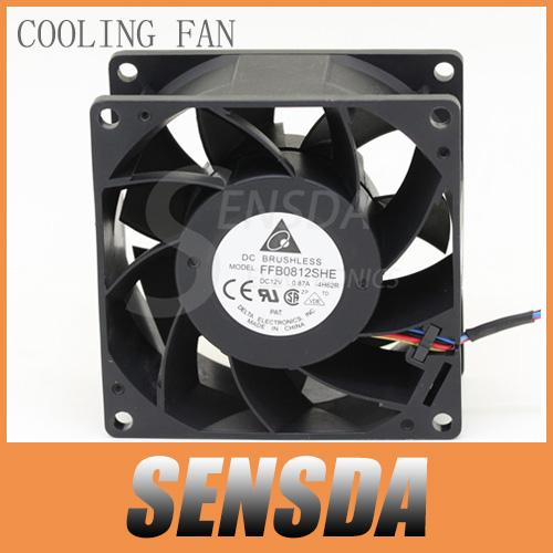 Free Shipping For Delta Electronics FFB0812SHE 80mm DC12V 0.87A Server Cooling Fans Server Square Fan 3-wire 80x80x38mm