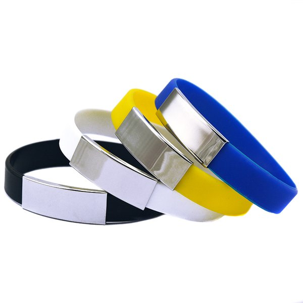 Wholesale Drop Shipping 50PCS/Lot Silicone Wristband Fashion Bracelet with Metal Piece Ornament Great For Benefits Gift