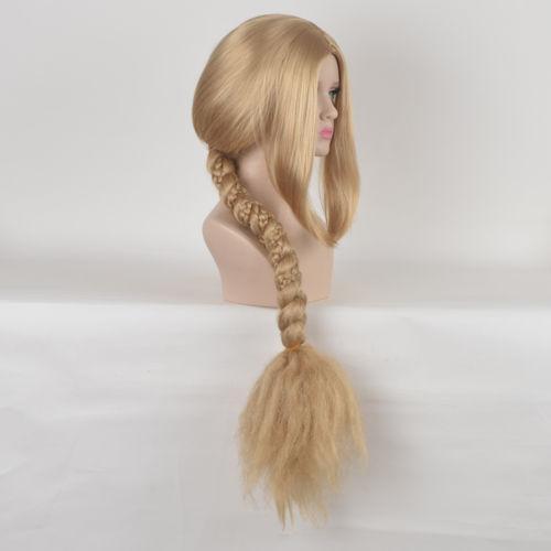 Frete grátis por atacado Tangled Rapunzel Cosplay festa traje Longo Loira Grande Trança Trança Peruca Cauda