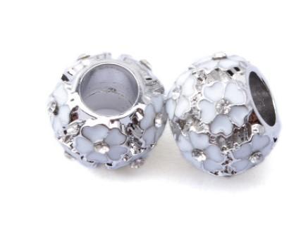 Serve para pandora charm bracelet cherry blossom rose gold ameixa esmalte beads banhado a prata encantos soltos para diy estilo europeu cobra charme cadeia