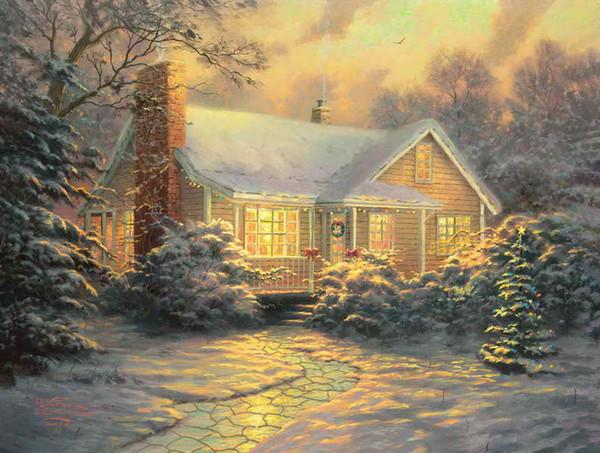Cottage de Noël Thomas Kinkade Peintures À L'huile Art Mur Moderne HD Impression Sur Toile Décoration No Frame