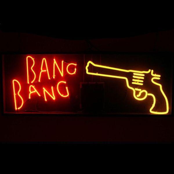 "17"" Clear Acrylic Board Bang Gun CUSTOM HANDCRAFT REAL GLASS TUBE NEON LIGHT BEER BAR PUB CLUB DISPLAY WALL SIGN"
