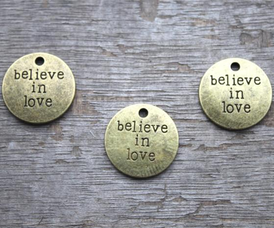 "12pcs Believe in Love Charms,Antique Bronze Tone Lovely Letter ""Believe in Love"" Charms Pendant 20mm"