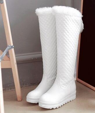 Wholesale New Arrival Hot Sale Specials Influx Warm Martin Leather Noble Knight Wool Warm Fur Show Elegant Slope Knee Boots EU34-43