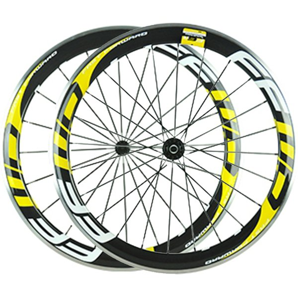 Fluo Yellow Decal FFWD Carbon Bike Wheels 60mm Alloy Brake Surface 3K Clincher Full Carbon Bicycle Wheelset With Novatec 271/372 Hubs