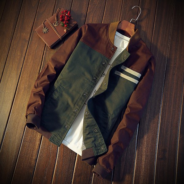 Mens Cotton Slim Baseball Jacket Biker Motorcycle Coat Outwear Hot Sell Windbreaker Green And Brown