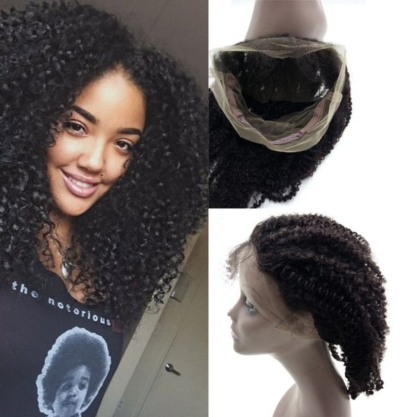 360 lace frontal with baby hair natural hairline Malaysian human hair afro kinky full swiss lace 360 frontal for African American FDSHINE
