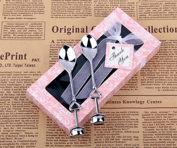 Indian Wedding Return Gifts Silver Love Heart Lovers Spoons Coffee Spoon Birthday Souvenirs Event Party Supplies 100boxes Personalized Birthday Favors