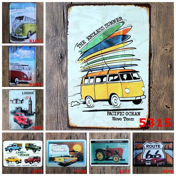 Bus Car Vehicle Retro metal Poster Wall Decor Bar Home Vintage Craft Gift Art 20x30cm Iron Painting Tin Poster(Mixed designs)