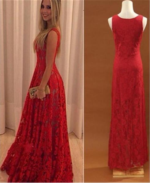 low priced d1e02 45bfa Großhandel Frauen Rotes Kleid Hochzeits Formales Ballkleid Partei  Abschlussball Spitze Rock Lange Ärmellose 2 Farben S XXL Von Heyan0117,  $15.3 Auf ...