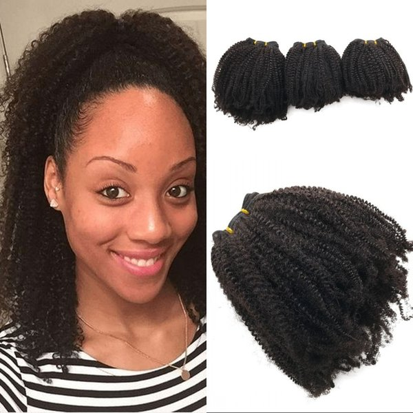 Human Hair Weave for Black Women Peruvian Hair Bundles 3pcs Afro Kinky Weaving Hair Free Shipping FDSHINE