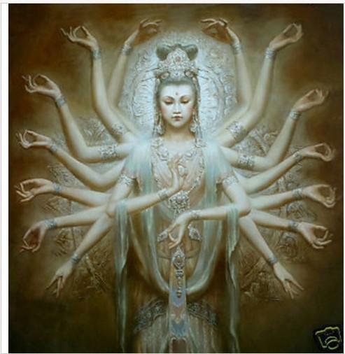Incorniciato Artigianato di alta qualità Moderna decorazione della parete di casa Arte pittura a olio su tela Dunhuang Kwan-yin Mille mani divinità Multi formati