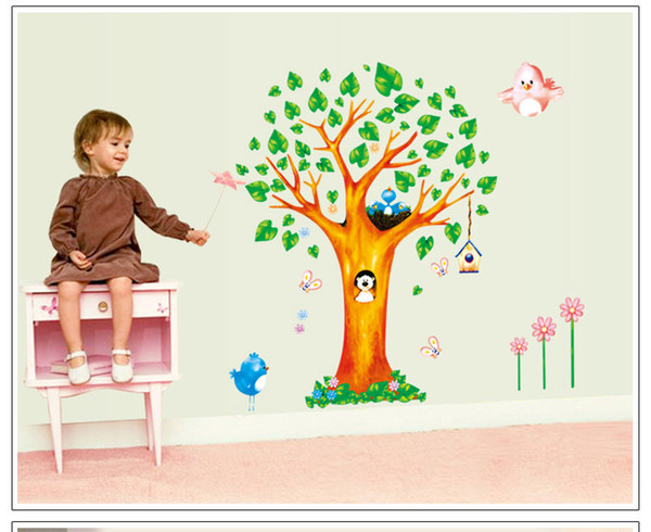 AY9125 Cute Animals Tree Wall Stickers for Kids Room Decorations Nursery Cartoon Children Decals Animals Mural Arts Flowers
