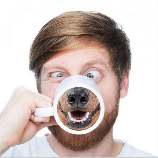 Funny Doggy Mug Ceramic Coffee Tea Cup Donkey Dog Nose DesignedCoffee Tea Cup Donkey Dog Nose Designed
