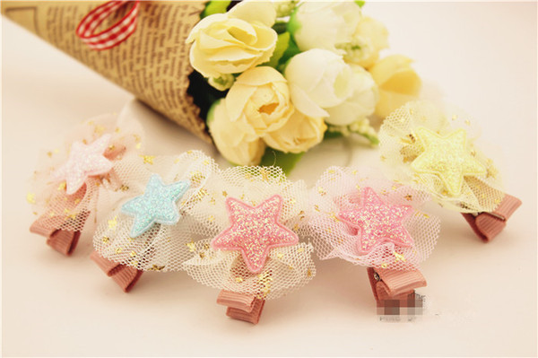 Wholesale 40pcs Fashion Cute Glitter Gauze Star Girls Hairpins Solid Kawaii Candy Color Lace Hair Clips Headware Accessories