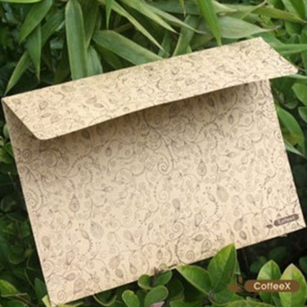 Wholesale-5 pcs/lot Kraft Paper Classic Vintage Flower Lace Envelopes for card Creative Gift Korean Stationery Free shipping 805