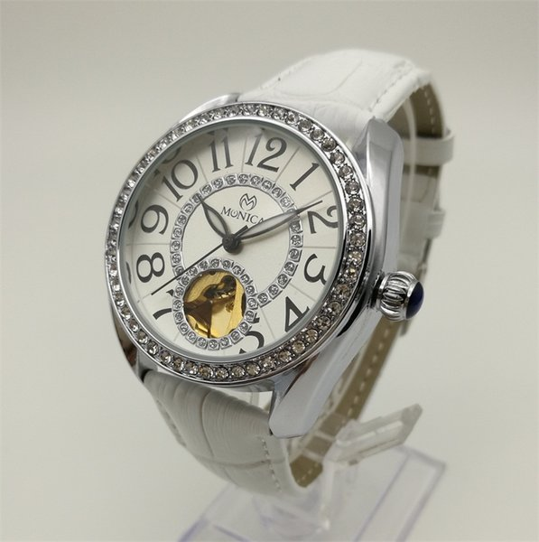 Mechanical Watches Brand Women Belt Digital Decorated Diamond Watch China Cheap Label Automatic Hollow White Watch