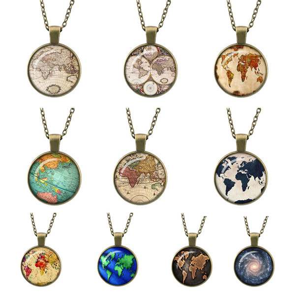 globe map of the world, new Retro Bronze necklace pendant jewelry world travel Curved glass adventurer link chain sweater pendants