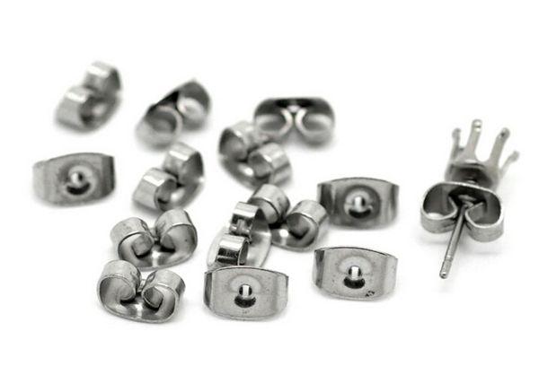 top popular Silver Tone Stainless Steel Butterfly Earrings Backings, Earrings Back Stoppers Holders,Stainless Steel Earring Plugs 200pcs Set 2019