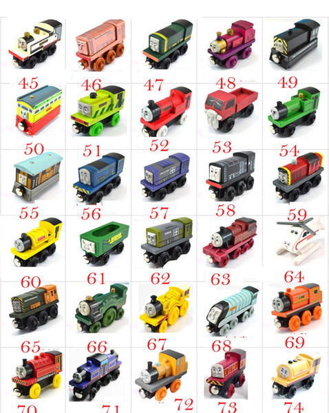 Wooden Small Trains Cartoon Toys 70 Styles Friends wooden Complete set of car toy train toys (1set=70pcs)