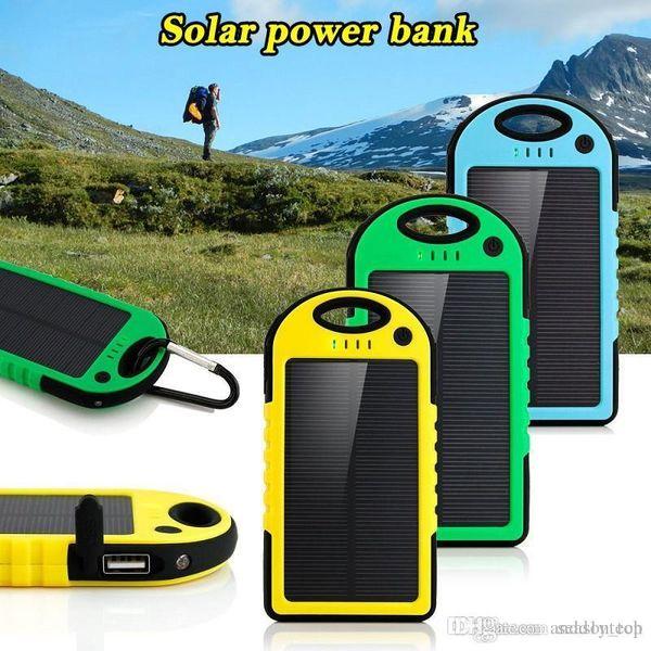 5000mAh Solar power bank waterproof shockproof Dustproof portable Solar powerbank External Battery for Cellphone iPhone 7 7Plus Samsung