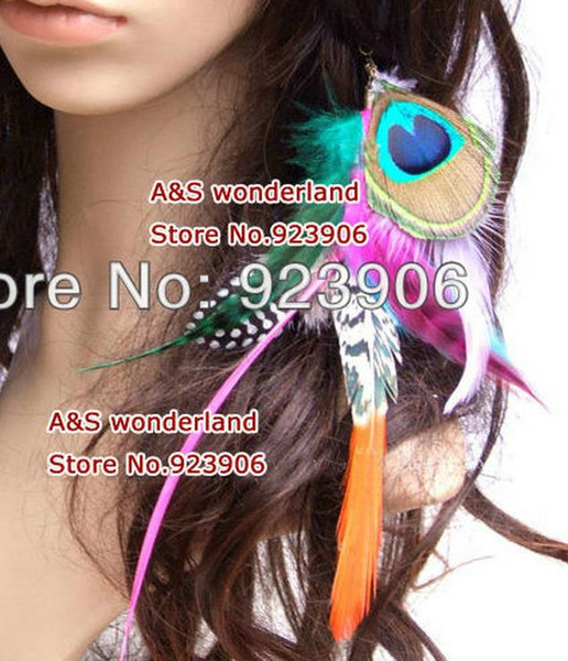 peacock feathers grizzly feather clip in/ on hair extension women's fashion feather clip in hair extensions 20pcs/lot