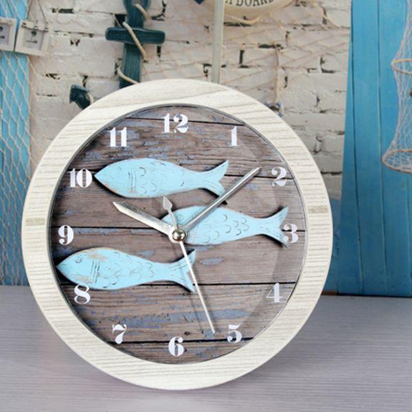 Wholesale Europe Mediterranean Sea Retro Blue Fish Alarm Clock Digital Desk  Table Clock Round Clock