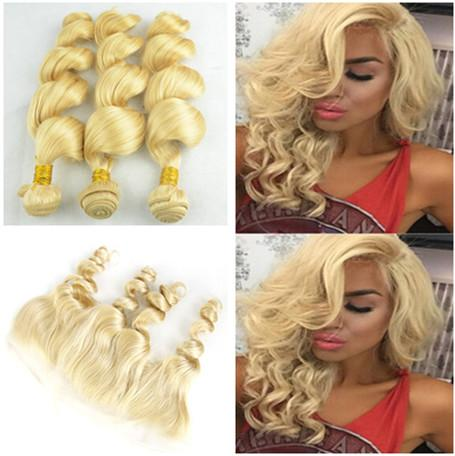 Loose Wave Blonde 13x4 Lace Frontal With Bundles Pure #613 Color Brazilian Loose Wave Human Hair Extensions With Full Lace Frontal 4Pcs Lot