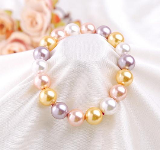Classic 9-10mm white pink purple gold Mixed color Natural shell beads pearl bracelet