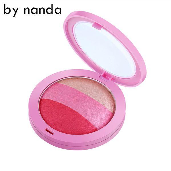 Al por mayor-POR NANDA 3 Color Blush Palette Waterproof Face Blush Powder Maquillaje Mejilla Color Blusher Colorete Sleek Beauty