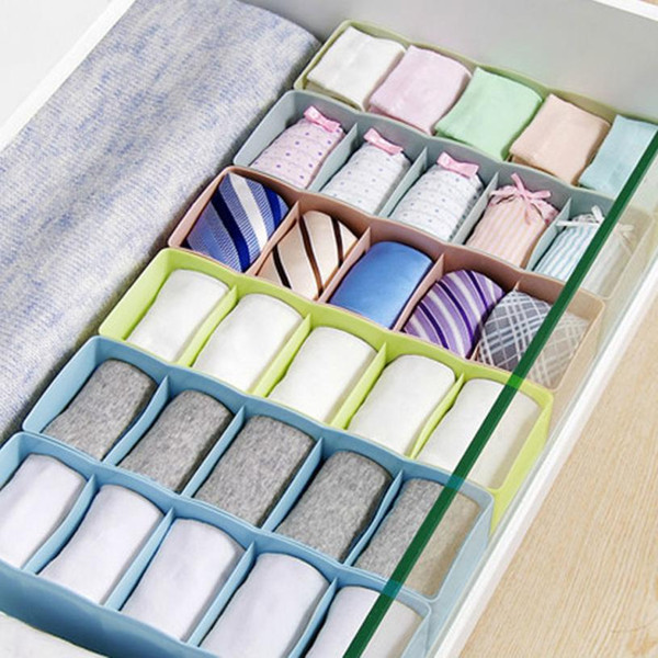 Hot sale 5 Grid Plastic Organizer Storage Box Tie Bra Underwear Socks Drawer Cosmetic Divider Tidy Jewelry Cosmetic Makeup Box