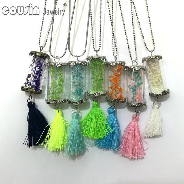 DZ0192 nuovi arrivi 30pcs / lot 30 stili bottiglia di vetro nappe pendente catena del serpente collana per monili di disegno di modo del vestito della donna