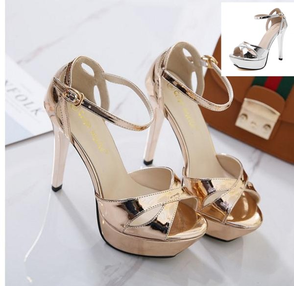 2017 Champagne silver bride wedding shoes thin high heels platform sandals women party prom club wear size 34 to 39