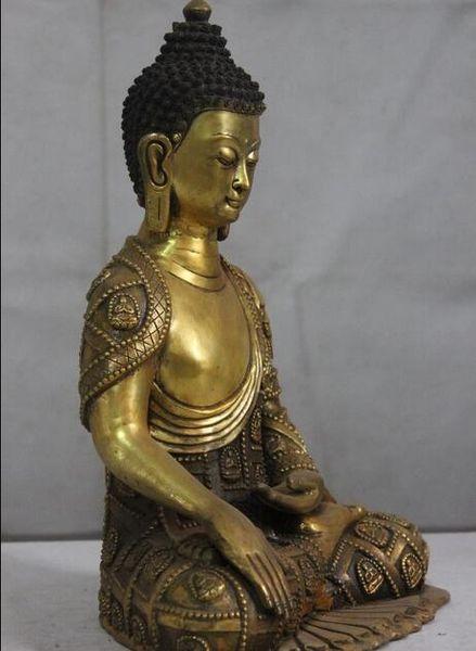 "15"" Tibet Buddhism copper Bronze gild Tathagata Buddhas Sakyamuni Buddha Statue"