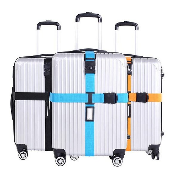 Cross Luggage Strapping with Lock Trolley Luggage Travel Suitcase Strap Baggage Belt Safe Packing Belt with POM Buckle