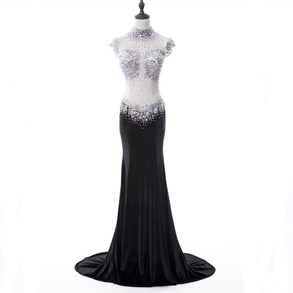 High Neck Beaded Crystal Mermaid Evening Dress 2018 See Through Back Long Evening Gowns Custom Made Free
