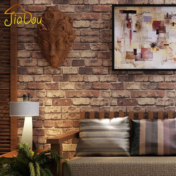 Wholesale-Brick Stone Wall Paper Chinese Rustic Vintage 3D PVC Exfoliator Embossed Washable WallPaper Livingroom Backdrop WallCovering 10M